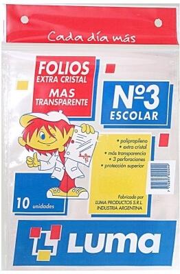 Folio Luma Escolar Extra Transp X10u