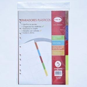 Separador Util-of  Plast 5 Lenguetas A4