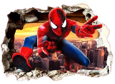 Vinilo impreso efecto 3D Spiderman - 80x80cm - MODELO: 3D_0005