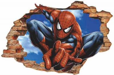Vinilo impreso efecto 3D Spiderman - 80x80cm - MODELO: 3D_0004