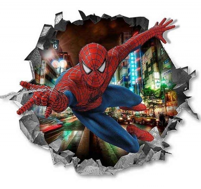 Vinilo impreso efecto 3D Spiderman - 80x80cm - MODELO: 3D_0006