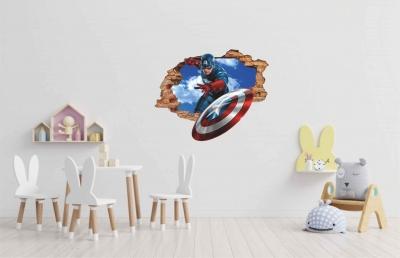 Vinilo impreso efecto 3D Capitán América - 60x60cm - MODELO: 3D_0007