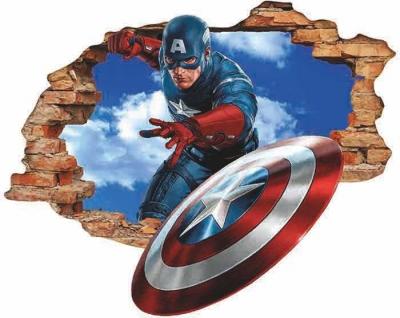 Vinilo impreso efecto 3D Capitán América - 80x80cm - MODELO: 3D_0007
