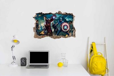 Vinilo impreso efecto 3D Avengers - 60x60cm - MODELO: 3D_0008