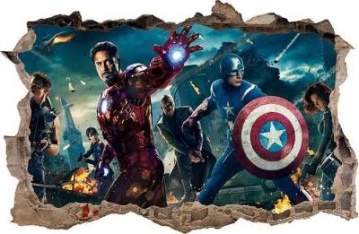 Vinilo impreso efecto 3D Avengers - 80x80cm - MODELO: 3D_0008