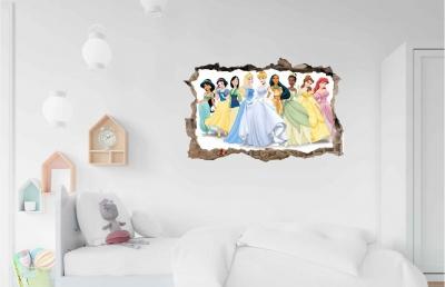 Vinilo impreso efecto 3D Princesas - 60x60cm - MODELO: 3D_0017