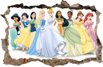 Vinilo impreso efecto 3D Princesas - 100x100cm - MODELO: 3D_0017