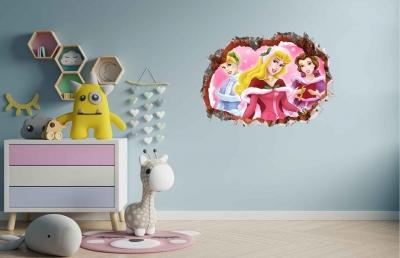 Vinilo impreso efecto 3D Princesas - 60x60cm - MODELO: 3D_0019