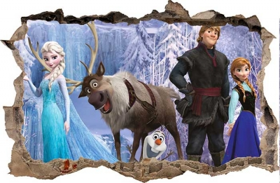 Vinilo impreso efecto 3D Frozen - 80x80cm - MODELO: 3D_0020