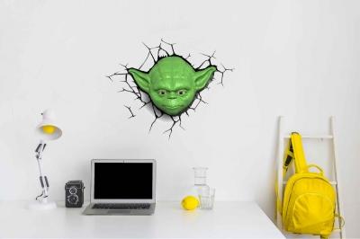 Vinilo impreso efecto 3D Yoda de Star Wars - 60x60cm - MODELO: 3D_0024