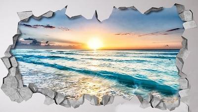 Vinilo impreso efecto 3D Playa - 100x100cm - MODELO: 3D_0027
