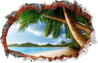 Vinilo impreso efecto 3D Playa con Palmeras - 80x80cm - MODELO: 3D_0039