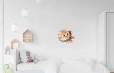 Vinilo impreso efecto 3D gato beige lateral chico -  60x60cm - MODELO: 3D_0042
