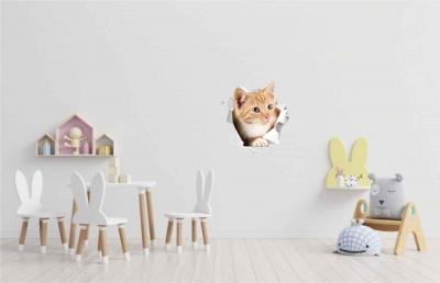 Vinilo impreso efecto 3D mini gatito beige-  60x60cm - MODELO: 3D_0043