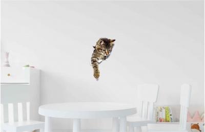Vinilo impreso efecto 3D gatito atigrado chico -  60x60cm - MODELO: 3D_0044