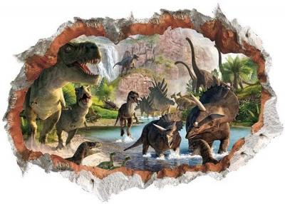 Vinilo impreso efecto 3D Dinosaurios - 80x80cm - MODELO: 3D_0057