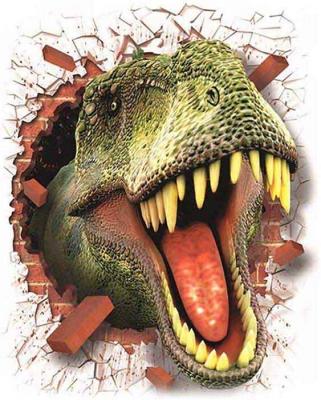 Vinilo impreso efecto 3D Tiranosaurio Rex - 80x80cm - MODELO: 3D_0058