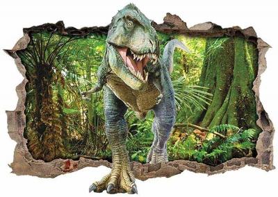 Vinilo impreso efecto 3D Tiranosaurio Rex - 80x80cm - MODELO: 3D_0059
