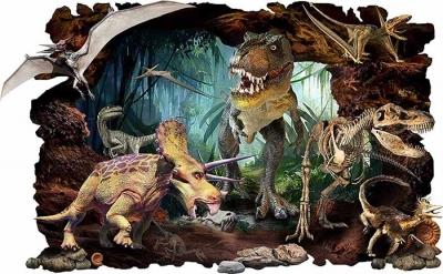 Vinilo impreso efecto 3D Dinosaurios - 80x80cm - MODELO: 3D_0061