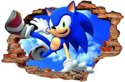 Vinilo impreso efecto 3D Sonic -  80x80cm - MODELO: 3D_0067