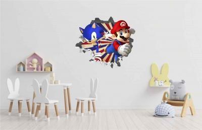 Vinilo impreso efecto 3D Sonic y Mario Bros - 60x60cm - MODELO: 3D_0068