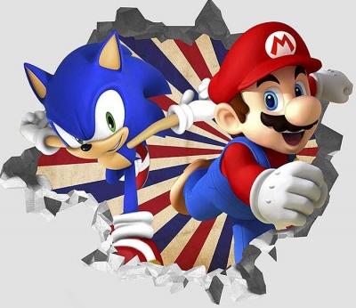 Vinilo impreso efecto 3D Sonic y Mario Bros - 80x80cm - MODELO: 3D_0068