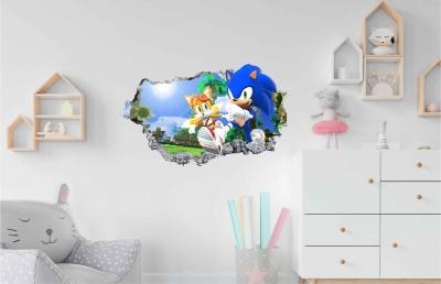 Vinilo impreso efecto 3D Sonic - 60x60cm - MODELO: 3D_0070