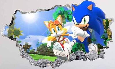 Vinilo impreso efecto 3D Sonic - 100x100cm - MODELO: 3D_0070