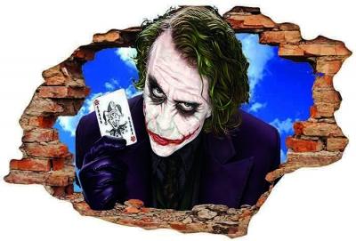 Vinilo impreso efecto 3D Joker/ Guasón - 100x100cm - MODELO: 3D_0092