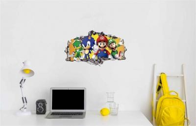 Vinilo impreso efecto 3D Videojuegos Sonic y Mario Bros- 60x60cm - MODELO: 3D_0071