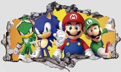 Vinilo impreso efecto 3D Sonic y Mario Bros  - 80x80cm - MODELO: 3D_0071