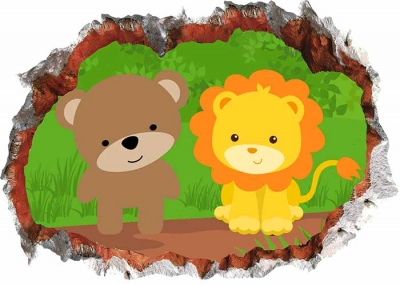 Vinilo impreso efecto 3D Infantiles Oso y León - 80x80cm - MODELO: 3D_0082