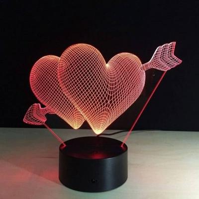 Lámpara de Corazón con Flecha LED 3D - MOD: Led_00015