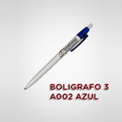 BOLÍGRAFO BLANCO CON LOGO A002 - 200 UNIDADES