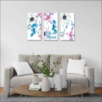 Flores - 3 módulos - 90 x 60cm - Modelo: CDM_002-PERSONALIZADO