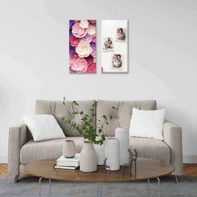 Flores y Fotos (personalizadas) - 2 módulos - 60 x 60cm - Modelo: CDM_010