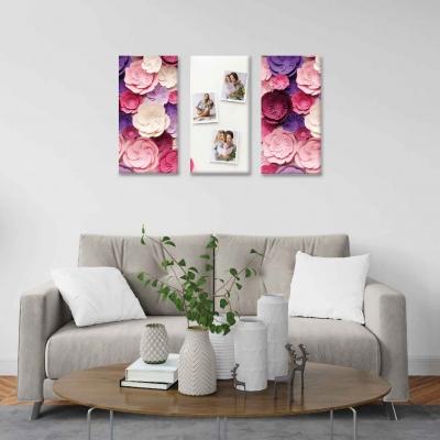 Flores de papel y fotos personalizadas -  3 módulos - 60 x 60cm - Modelo: CDM_010