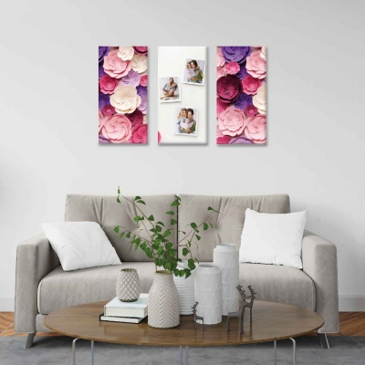 Flores de papel - 3 módulos - 90 x 60cm - Modelo: CDM_010