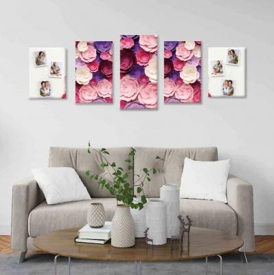 Flores de papel con fotos - 5 módulos - 100 x 60cm - Modelo: CDM_010