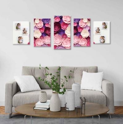 Flores de papel con fotos personalizadas - 5 módulos - 150 x 60cm - Modelo: CDM_010