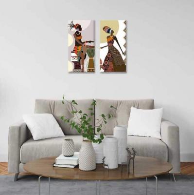 Africanas con tambor - 2 módulos - 40 x 60cm- Modelo: CAF_001