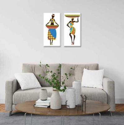 Africanas y palanganas - 2 módulos - 40 x 60cm- Modelo: CAF_002