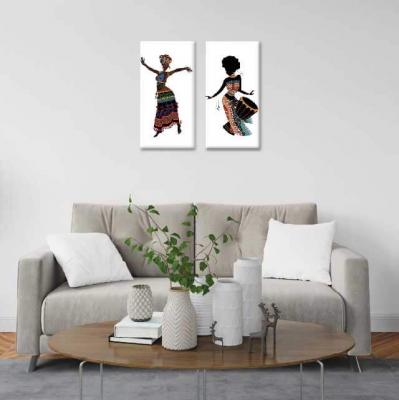 Africanas bailando - 2 módulos - 60 x 60cm - Modelo: CAF_004