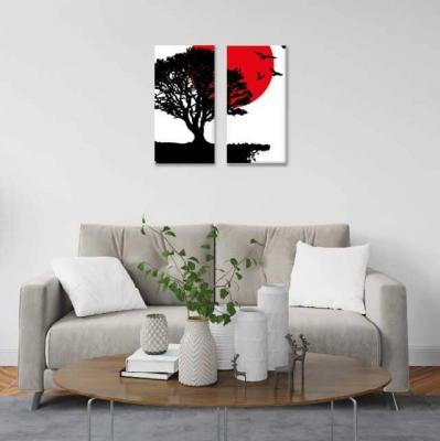 Arbol de la vida con luna roja - 2 módulos - 40 x 60cm- Modelo: CAR_005