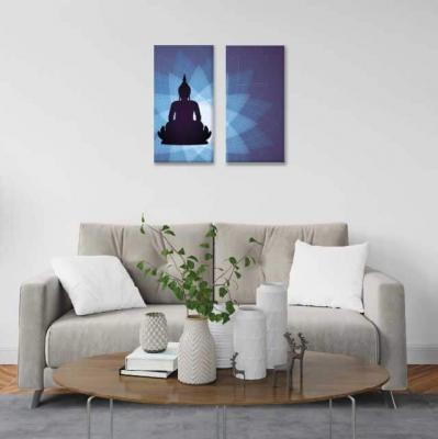 Buda y mándalas azules - 2 módulos - 40 x 60cm- Modelo: CBD_001