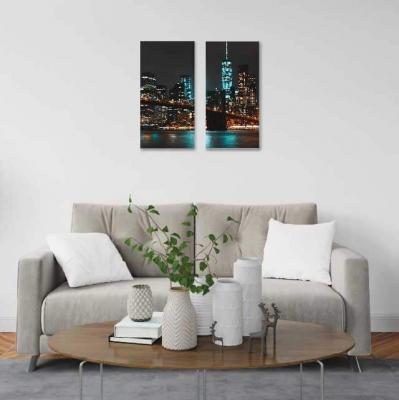 Nueva York de noche - 2 módulos - 60 x 60cm - Modelo: CCI_001