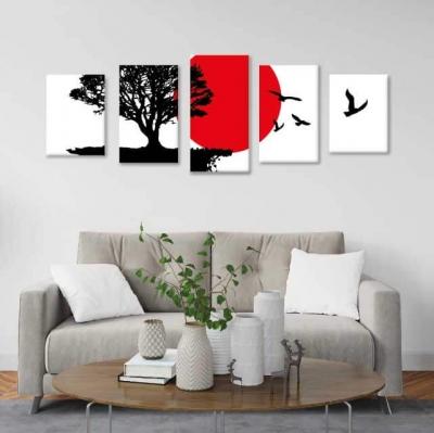 Árbol de la vida con luna roja - 5 módulos - 150 x 60cm - Modelo: CAR_005