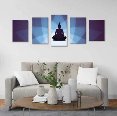 Buda con flor de loto- 5 módulos - 150 x 60cm - Modelo: CBD_001