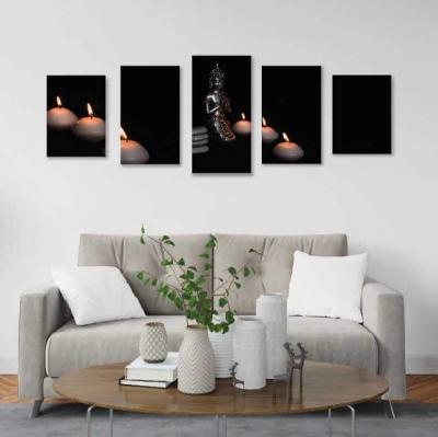 Buda de metal con velas - 5 módulos - 150 x 60cm - Modelo: CBD_004
