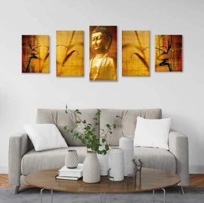 Buda en lienzo - 5 módulos - 150 x 60cm - Modelo: CBD_006